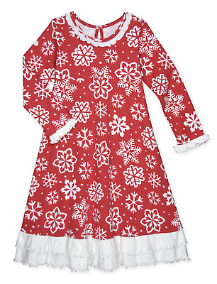 Sara's Prints Girls' Snowflake Ruffle Nightgown, Kids Sizes 2T-12