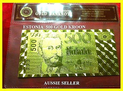 Estonia Gold Rare 500 Kroon Banknote 24Kt Gold Bank Note