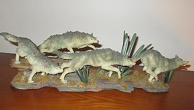 16'' Long Figurine Statue Wolves Pack of Four Prowling Running Wolf Home Decor