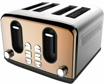 Toaster Copper Effect Stainless Steel Electric Oven Slice Bread Toaster 4 Slice