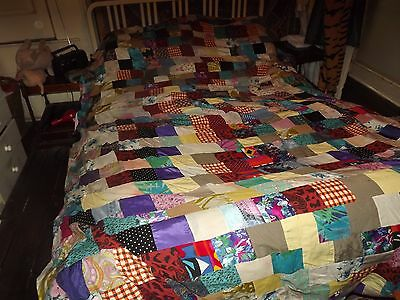 Antique / Vintage Shabby Chic Cottage Style Handmade Patchwork Quilt