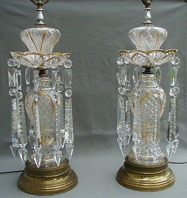 """Gorgeous Pair Of Cut Glass Luster Lamps With Brass Bases & 8"""" Long Spear Prisms"""