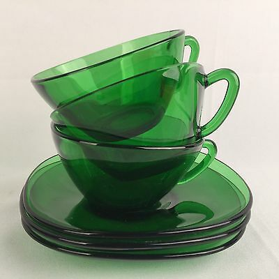 Vintage VERECO Retro 1960's Square Green Glass Coffee Tea Cups & Saucer Set of 3