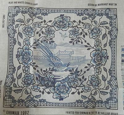 Ehrman  Margaret Murton Needlepoint Tapestry Kit Blue & White Chinese Bird 1992