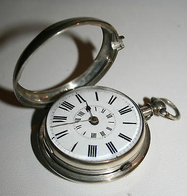 Antique Solid Silver Rowland Edwards Ludlow 1869 Fusee Pair Cased Pocket Watch