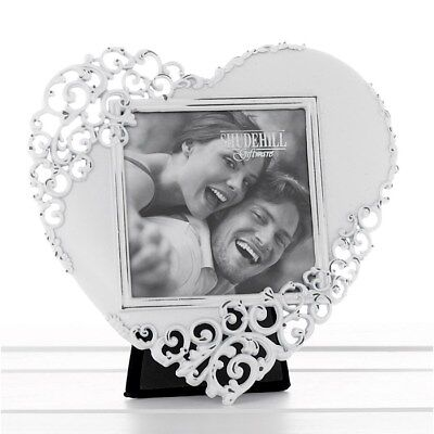 Vintage Chic White wash Love HEART Metal Picture Photo Frame Wedding 65540