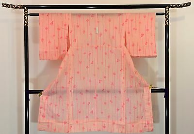 Vintage authentic Japanese women's pink jyuban juban for kimono, used, S (F1541)