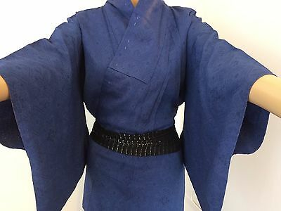 Vintage authentic Japanese blue silk kimono for women, Japan import, M (F1543)