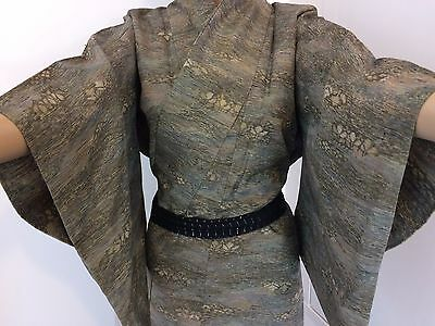 Vintage authentic Japanese green wool kimono for women, Japan import, M (F1544)