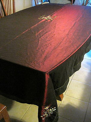 Red & Green Organza Satin Embroidered Christmas Tree Tablecloth 112 X 60