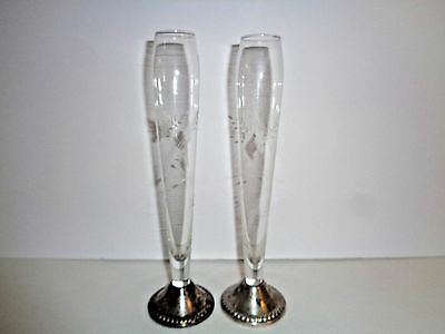 Etched Glass Floral Bud Vases w/Sterling Silver Weighted Bases ~ Lot of 2