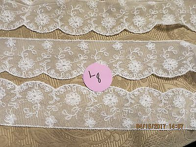 """56""""  Early Vintage Net Tulle Floral  Lace Scallop Edge Doll Dress Hat   Art #l8"""