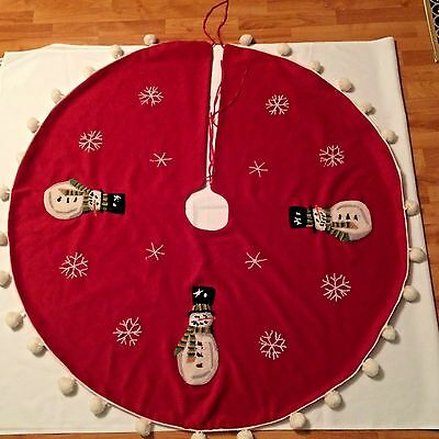 Vintage Push Punch Work, Snowman, Pom Pom, Red & White Christmas Tree Skirt