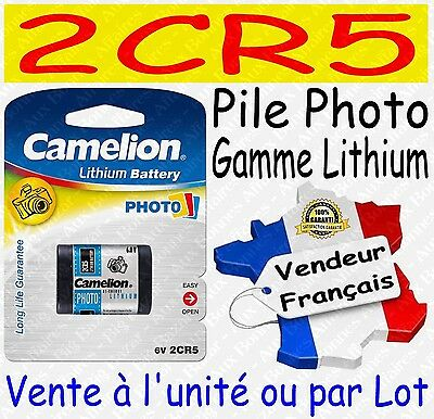 Piles/Battery Photo Lithium 3V : 2CR5 CR123A CR2 CR-P2 - Dispo x 1 ou par lot