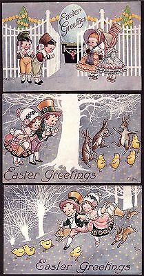 Postcards: F.G.Lewin Easter Cards 1943 (3) Unused with message on reverse V/Fine