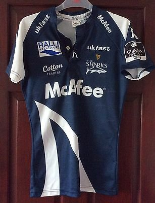 "SALE SHARKS  TRADERS RUGBY Match SHIRT Men's 38"" Chest Slim fit"