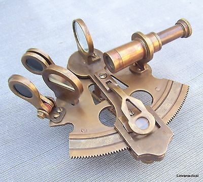 Brass Sextant Antique Nautical Maritime Decor Navigation Pirate Collectible