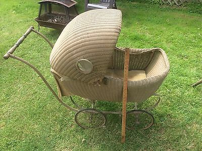 Antique Lloyd Loom Baby Carriage / Stroller, Wicker ? 1917 , Adjustable , Brakes