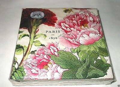 Pink Peony Floral 20 Paper Napkins Beverage Cocktail ~ 3 Ply ~ Michel