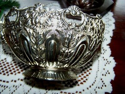 LastChance!  W & S Blackinton Silverplate Ornate Rings Jardiniere Repousse small