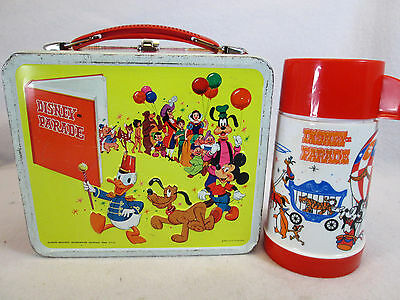 Vintage 1970s Disney on Parade metal lunch box plastic thermos set by Aladdin