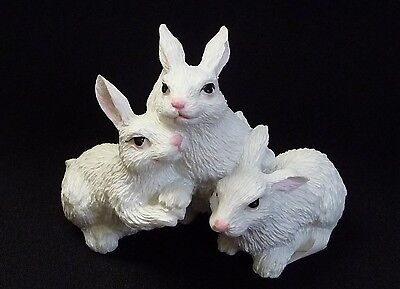 Adorable Trio of White Rabbits Figurine ~ Resin ~ Hand Painted ~ Bunnies
