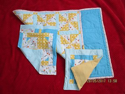 Baby Quilt Hand Made With Burp And Dribble Mats