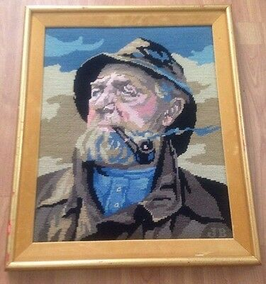"Vintage Mid Century Framed Needlepoint Art Old Man Fisherman with Pipe 21"" X 18"""