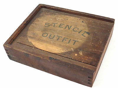 Antique Stencil Brass Letter Sign Maker Kit Wood Box Chest Lettering Numbers
