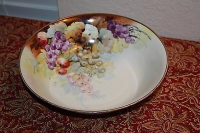 "hand-painted antique Krister Porcelain Manufactory KPM 10"" BOWL - signed Gerard"