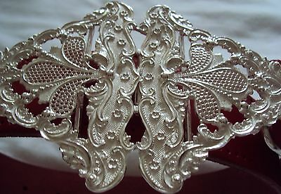Solid Sterling Silver Rococo Style Ladies Belt Buckle