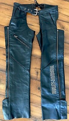 Harley Davidson Womens HD Chaps Black Leather Riding Embroidered Small Not Cut