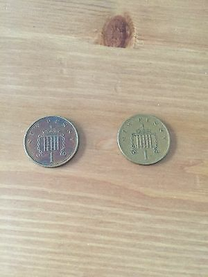 """2x Rare British One pence """"New Penny"""" Coins 1971"""