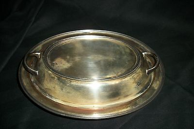 Antique~Vintage Silver Plate On Copper~Oval Covered Serving Dish~Bowl~Heavy