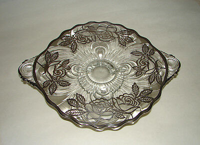 CAMBRIDGE CAPRICE STERLING Silver Overlay Roses Footed Handled Bowl marked