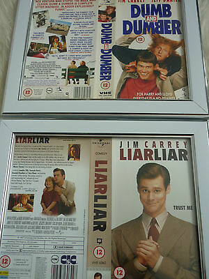 Jim carrey Dumb Dumber & Liar Liar Double Bundle Cover Vhs sleeves Framed