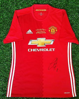 Manchester United Adidas Shirt size M signed EFL Cup Final Shirt Bailly