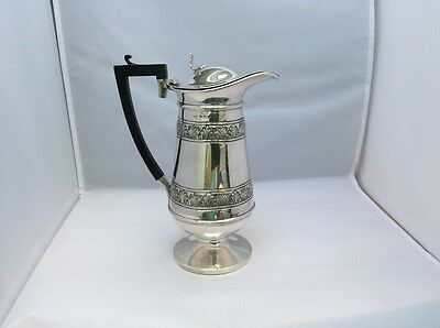 A Decorative Edwardian Solid Silver Claret Wine Jug By Birmingham 1907