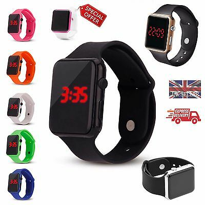 LED Digital Screen Wrist Watch Sport Men Women Unisex School Boys Girls Kids UK