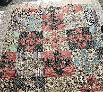 Antique Hand Stitched Reversible Sawtooth And  Stars Quilt