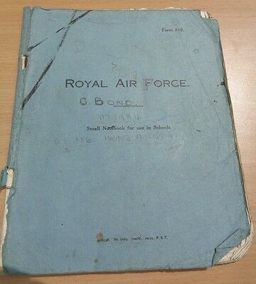 WW2 (1939) RAF Excercise Book Full of Hand-Written Notes, Drawings & Doodles