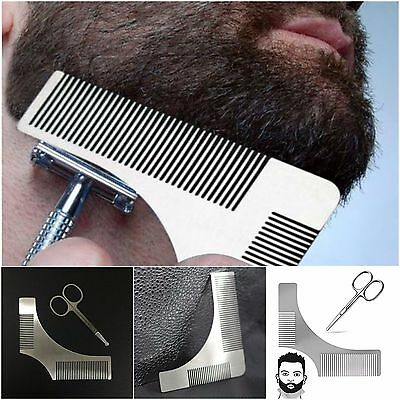 2 PCS Beard Shaper Styling Shaping Template Comb Trim Tool Stainless Steel