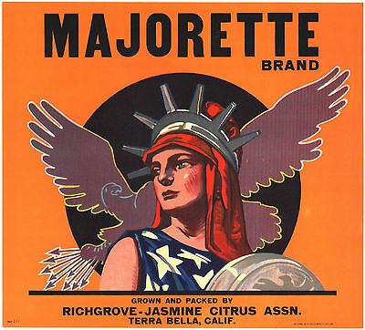 *Original* MAJORETTE Terra Bella LADY LIBERTY RARE Orange Crate Label NOT A COPY