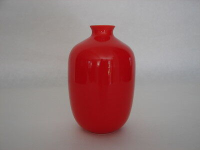 Middle Kingdom Bo Jia Hand-crafted Fine Chinese Porcelain Coral Red Vase Signed