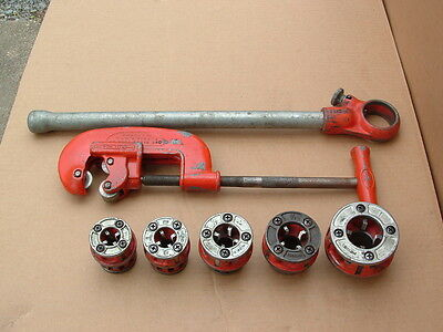 Rigid 00-R Ratcheting Pipe Threader Set With 5 Dies and No. 2 Pipe Cutter