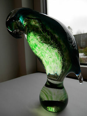Wedgwood glass blue/light green parrot, etched on base, very rare colourway