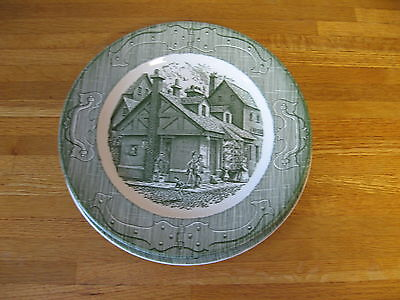 2 Royal China Old Curiosity Shop 10 Inch Dinner Plates Green Transferware