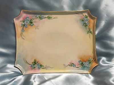 Antique W.G. & Co Limoges France Hand Painted Dresser Tray Pink & Blue Flowers