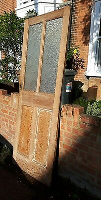 Antique Victorian / Edwardian Internal Pine Door 4 panel, 2 glass / glazed