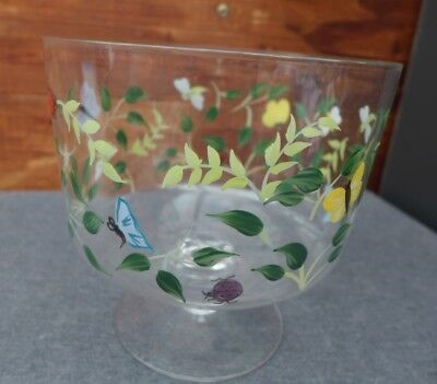 "Lenox Hand Painted Butterfly Meadow Glass Trifle Fruit Bowl 7.25""W x 7""H"